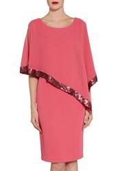 Gina Bacconi Crepe Dress And Sequin Chiffon Cape Coral Red