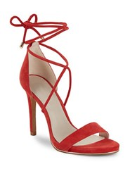 Kenneth Cole Berry Suede Lace Up Dress Sandals Red