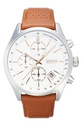 Boss Grand Prix Leather Strap Chronograph Watch 44Mm