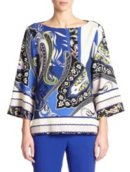Etro Paisley Boatneck Blouse Blue Multi