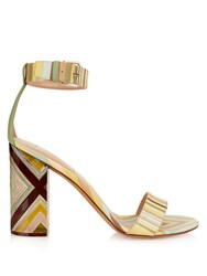Valentino Plexiglas Block Heeled Leather Sandals