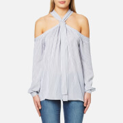 Michael Michael Kors Women's Pane Off The Shoulder Long Sleeve Top White True Navy