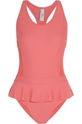 Adidas By Stella Mccartney Ruffled Racer Back Swimsuit Orange