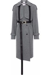 Magda Butrym Westminster Leather Trimmed Wool And Cashmere Blend Felt Coat Gray