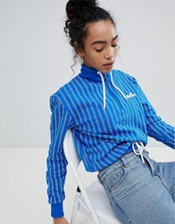 Ellesse Italia Oversized Sweatshirt In Stripe Crinkle Nylon With Ring Pull Zip Blue
