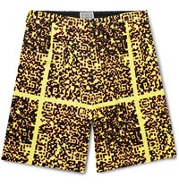 Cav Empt Noise Wide Leg Pleated Printed Cotton Shorts Yellow