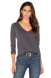 Splendid Vintage Whisper Long Sleeve V Neck Tee Gray
