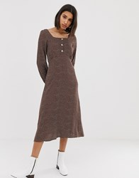 Mango Polka Dot Square Neck Midi Dress In Brown