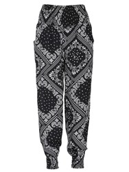 Izabel London Geometric Print Trousers Black White