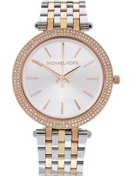 Michael Kors Darci 39Mm Crystal Dial Mixed Metal Bracelet Watch Rose Gold Silver Gold Multi