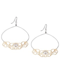 Sis By Simone I Smith 18K Gold And Platinum Over Sterling Silver Earrings Music Scroll Drop Earrings