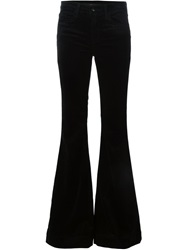 J Brand Flared Velvet Trousers Black