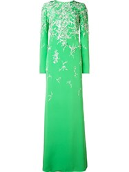 Monique Lhuillier Embroidered Long Sleeved Gown Green