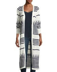 Lulumari Striped Long Open Cardigan White Blue