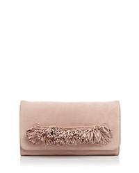 Ollie And B Fringe Suede Clutch Pink Gold