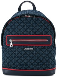 Love Moschino Front Zip Backpack Women Polyurethane One Size Blue