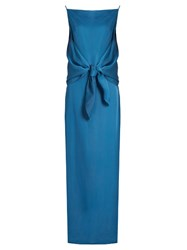 Nina Ricci Tie Front Crepe Gown Light Blue