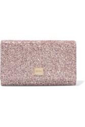 Jimmy Choo Lizzie Glittered Leather Clutch Pink