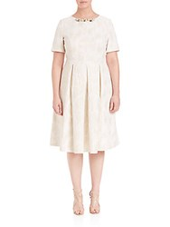 Basler Plus Size Jacquard Fit And Flare Pleated Dress Off White