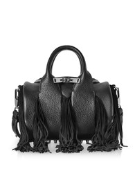 Alexander Wang Handbags Rockie Black Pebbled Leather Mini Satchel Bag W Suede Fringes
