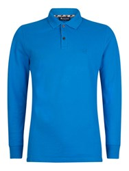 Aquascutum London Hilton Long Sleeve Polo Shirt Guilloche Blue