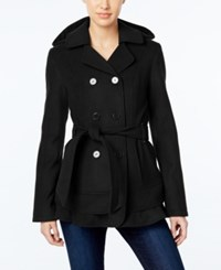 Celebrity Pink Hooded Double Breasted Tiered Hem Peacoat Black