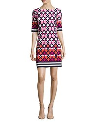 Eliza J Three Quarter Sleeve Shift Dress Pink