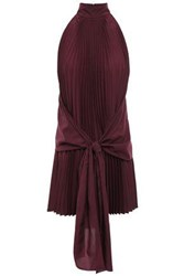 Tome Woman Pleated Tie Front Crepe De Chine Top Plum