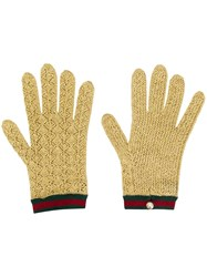 Gucci Knitted Gloves Gold