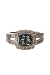 Savvy Cie Rhodium Plated Sterling Art Deco Blue Diamond Ring 0.04 Ctw