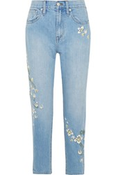 Madewell Embroidered High Rise Straight Leg Jeans Mid Denim