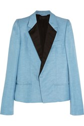 Haider Ackermann Satin Trimmed Linen And Silk Blend Blazer Sky Blue