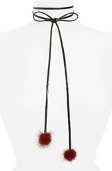 Carole Women's Bow Tie Choker Necklace With Faux Fur Pompoms Black Burgundy