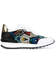 Casadei Embellished Sneakers Women Calf Leather Patent Leather Kid Leather Rubber 38.5 White
