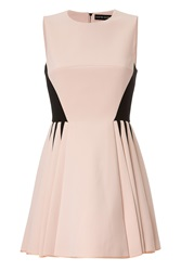 David Koma Colorblock Dress With Pleated Skirt Rose