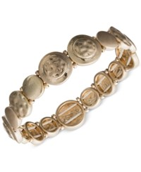 Lonna And Lilly Gold Tone Hammered Disc Stretch Bracelet