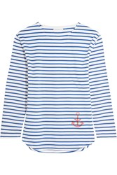 Chinti And Parker Striped Organic Cotton Jersey Top Blue