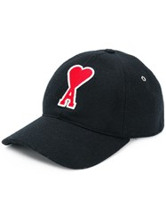 Ami Alexandre Mattiussi Cap With De Coeur Patch Black