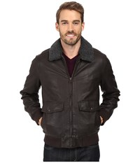 Dockers Two Pocket Laydown Collar Aviator Bomber W Removable Sherpa Collar Dark Brown Men's Coat