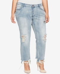 William Rast Trendy Plus Size Cotton Distressed Jeans Pale Corne