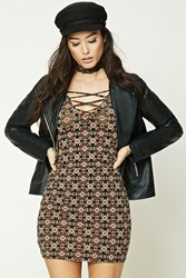 Forever 21 Ornate Lace Up Bodycon Dress Black Taupe