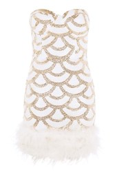 Rare Sequin Feather Trim Mini Dress By White