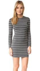 Cupcakes And Cashmere Malbec Striped Dress With Twist Back Medium Heather Grey