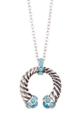 Yochi Design Horseshoe Necklace Blue