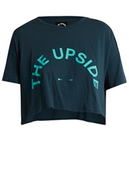 The Upside Kaila Logo Print Cotton Jersey T Shirt Navy