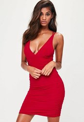 Missguided Red Slinky Cross Back Ruched Side Bodycon Dress
