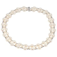 Lido Pearls Two Row Freshwater Pearl And Bead Collar Necklace Silver White