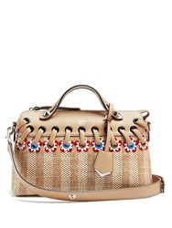 Fendi By The Way Straw And Leather Bag Tan