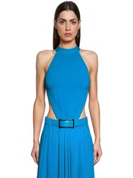 Elie Saab Lvr Edition Open Back Knit Bodysuit Blue