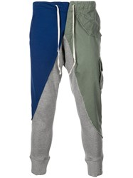 Greg Lauren Contrast Panel Trousers Green